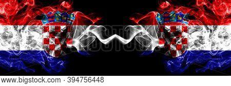 Croatia, Croatian Vs Croatia, Croatian Smoky Mystic Flags Placed Side By Side. Thick Colored Silky A