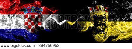 Croatia, Croatian Vs Germany, German, Deutschland, Baden Wurttemberg Smoky Mystic Flags Placed Side