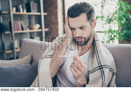 Close-up Portrait Of His He Nice Attractive Sick Brunet Guy Sitting On Sofa Suffering Flue Infection