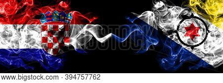 Croatia, Croatian Vs Netherlands, Dutch, Holland, Bonaire Smoky Mystic Flags Placed Side By Side. Th