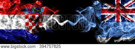 Croatia, Croatian Vs New Zealand, Ross Dependency Smoky Mystic Flags Placed Side By Side. Thick Colo