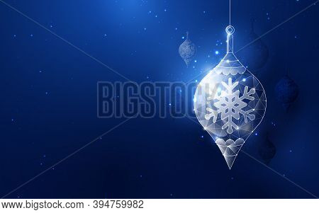 Silver Christmas Ball Hanging Element. Low Poly Model Design. Vector Illustration