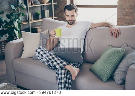 Photo Of Handsome Homey Guy Sit Comfy Sofa Saturday Morning Drink Fresh Coffee Browsing Notebook Fre