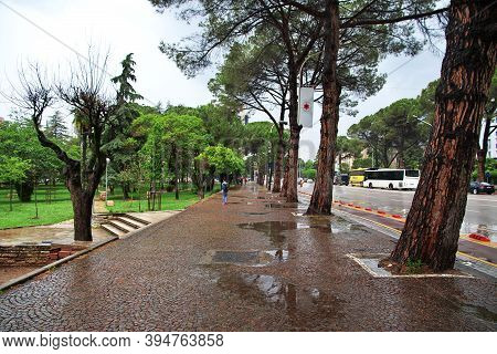 Tirana, Albania - 08 May 2018: The Park In Tirana, Albania