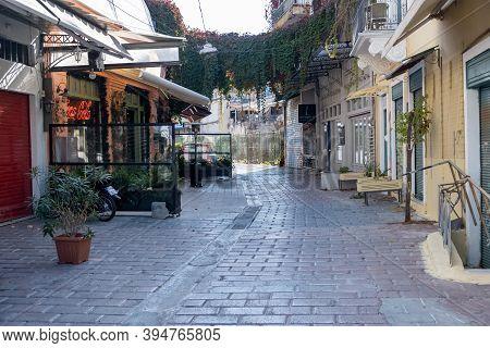 Empty Streets In Athens, Greece City Center, Monastiraki Area