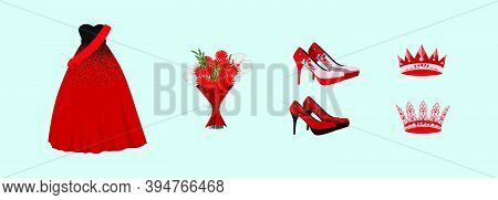 Set Of Dress, Shoes, Flower And Crown. Cartoon Icon Design Template With Various Models. Modern Vect
