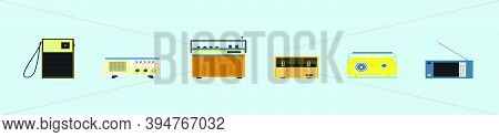 Set Of Vintage Radio Transistor. Cartoon Icon Design Template With Various Models. Modern Vector Ill