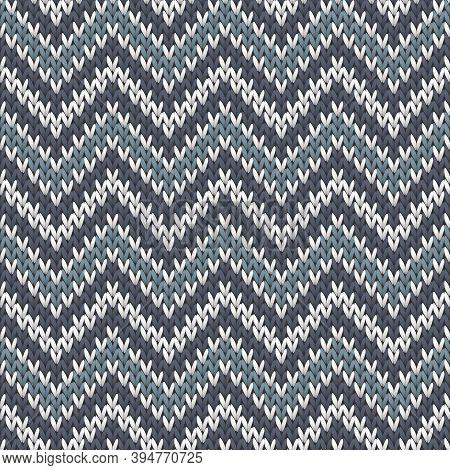 Cozy Chevron Stripes Knit Texture Geometric Seamless Pattern. Pullover Knitwear Fabric Print. Nordic