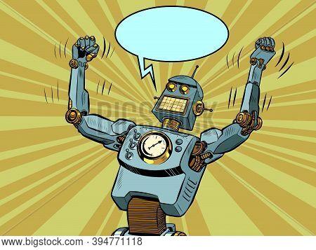 Robot Villain In A Winning Pose. Technological Progress. The Comic Villain Character. Pop Art Retro