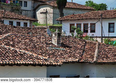 Berat, Albania - 09 May 2018: Vintage Houses In Berat, Albania
