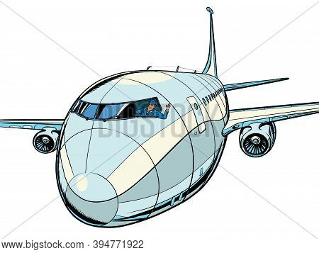 The Plane Is A Passenger Liner. Travel And Air Transportation. Pop Art Retro Illustration Kitsch Vin