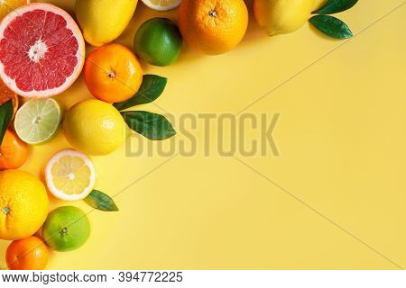 Slices, Whole Citruses Are Laid Out In Composition In Upper Left Corner Of Background. Tangerines, O