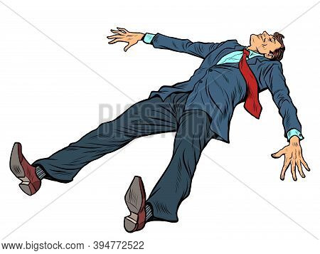 Businessman In A Suit Is Resting. Fatigue From Work. Pop Art Retro Illustration Kitsch Vintage 50s 6