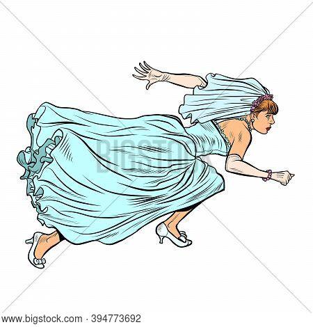 Woman Bride Runs. Pop Art Retro Illustration Kitsch Vintage 50s 60s Style