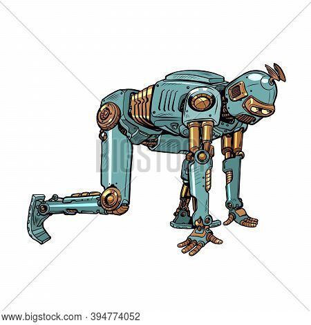 Retro Steampunk Robot At The Starting Position. Pop Art Retro Illustration Kitsch Vintage 50s 60s St