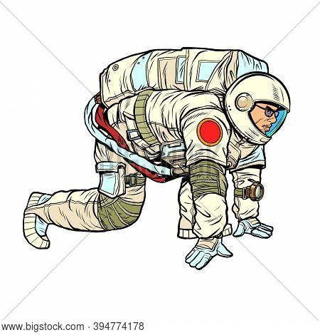 Astronaut Space Explorer At Launch. Pop Art Retro Illustration Kitsch Vintage 50s 60s Style