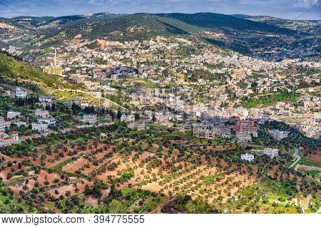 Aerial View Of Ajloun Town From Rabad Castle, Jordan. Ajloun Is A Hilly Town In The North Of Jordan