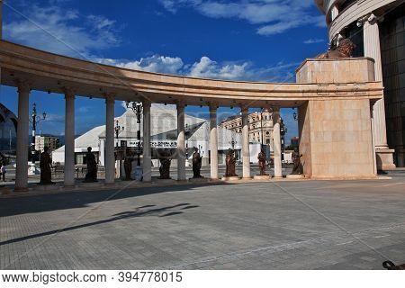 Skopje, Macedonia - 10 May 2018: The Monument In Skopje, Macedonia, Balkans