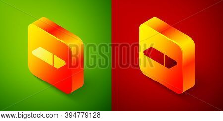 Isometric Eraser Or Rubber Icon Isolated On Green And Red Background. Square Button. Vector Illustra