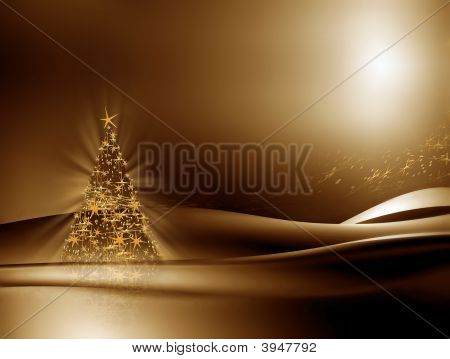 Illuminated Christmas Tree On Golden Background