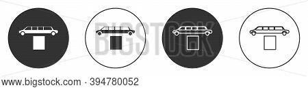 Black Luxury Limousine Car And Carpet Icon Isolated On White Background. For World Premiere Celebrit