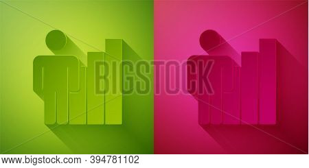 Paper Cut Productive Human Icon Isolated On Green And Pink Background. Idea Work, Success, Productiv