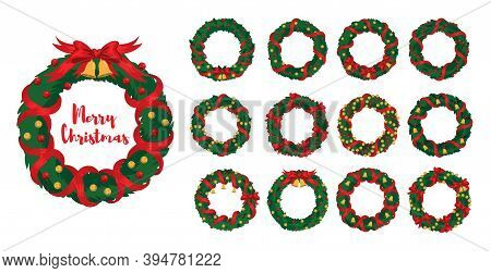 Christmas Wreaths Big Set With Winter Holiday Decoration. Holly Wreath With Red Ribbons And Golden B