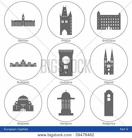 Icon set of European capitals symbolized by their main landmark building poster