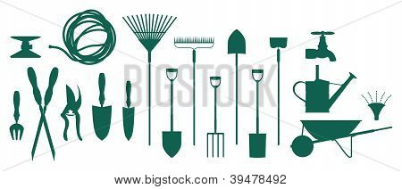 Set of garden assorted tools and equipment