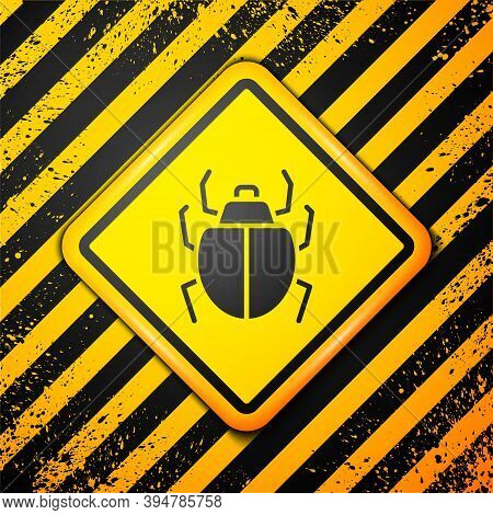 Black Mite Icon Isolated On Yellow Background. Warning Sign. Vector