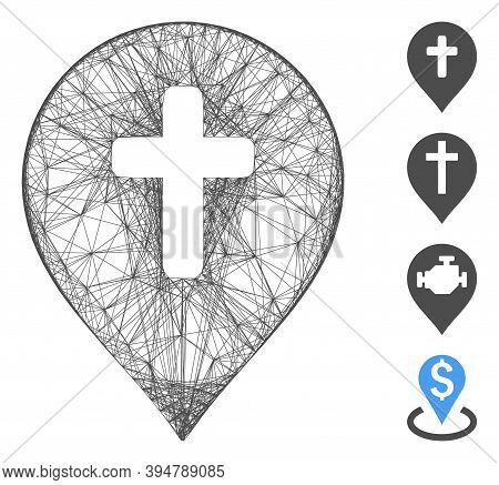 Vector Wire Frame Religion Cross Marker. Geometric Wire Frame Flat Network Generated With Religion C