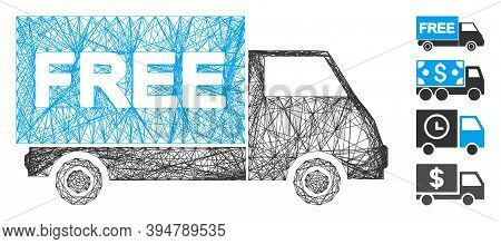 Vector Net Free Shipment Van. Geometric Hatched Carcass 2d Network Made From Free Shipment Van Icon,