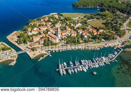 Aerial View Of Historic Town Of Osor Between Islands Cres And Losinj, Croatia