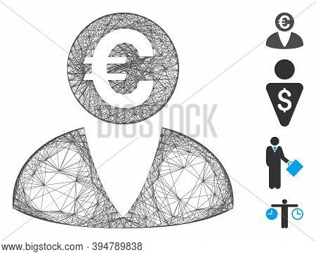 Vector Wire Frame Euro Banker. Geometric Wire Frame 2d Network Made From Euro Banker Icon, Designed