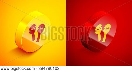 Isometric Maracas Icon Isolated On Orange And Red Background. Music Maracas Instrument Mexico. Circl