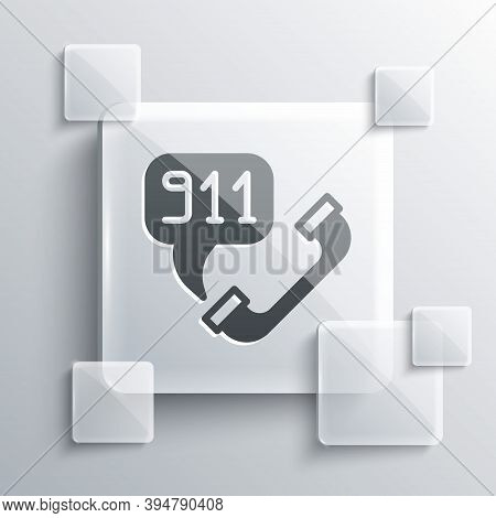 Grey Telephone With Emergency Call 911 Icon Isolated On Grey Background. Police, Ambulance, Fire Dep