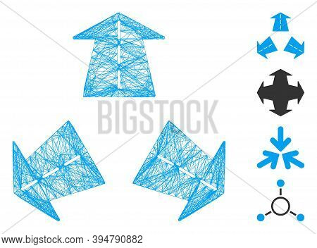 Vector Wire Frame Three Road Directions. Geometric Linear Frame 2d Network Made From Three Road Dire
