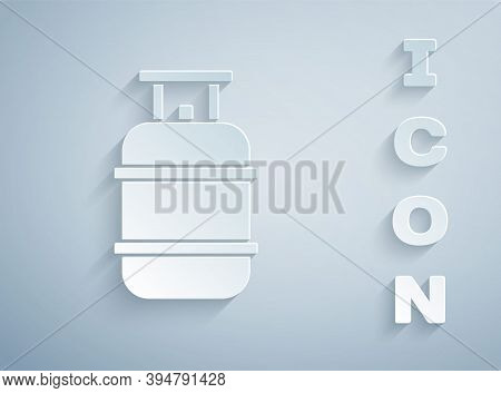 Paper Cut Propane Gas Tank Icon Isolated On Grey Background. Flammable Gas Tank Icon. Paper Art Styl