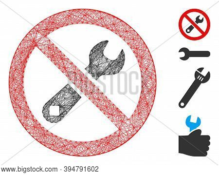 Vector Network Forbidden Repair. Geometric Wire Carcass 2d Network Made From Forbidden Repair Icon,