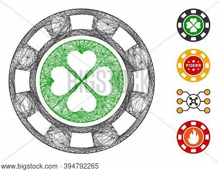 Vector Wire Frame Luck Casino Chip. Geometric Hatched Frame 2d Net Made From Luck Casino Chip Icon,