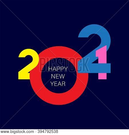 2021 Happy New Year Logo Text Design For Greeting Card, Calendar Or Any Design. 2021 Number Design T