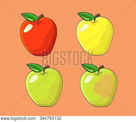 Four Apples Set Including Red, Green, Yellow And A Rotten Fruit.
