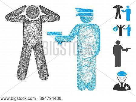Vector Wire Frame Arrest. Geometric Linear Frame 2d Net Made From Arrest Icon, Designed From Interse