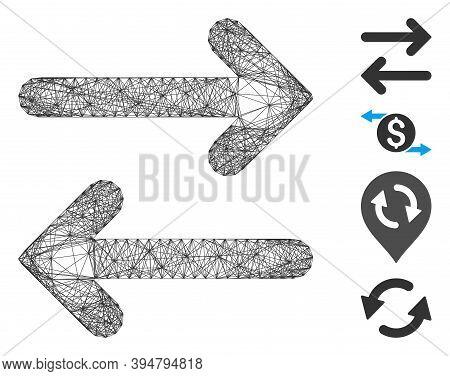 Vector Net Flip Horizontal. Geometric Hatched Carcass 2d Net Made From Flip Horizontal Icon, Designe