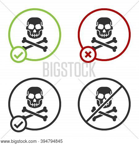 Black Skull On Crossbones Icon Isolated On White Background. Happy Halloween Party. Circle Button. V