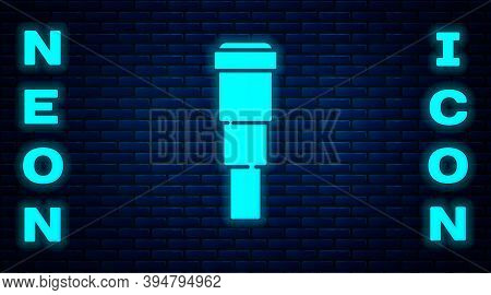 Glowing Neon Spyglass Telescope Lens Icon Isolated On Brick Wall Background. Sailor Spyglass. Vector