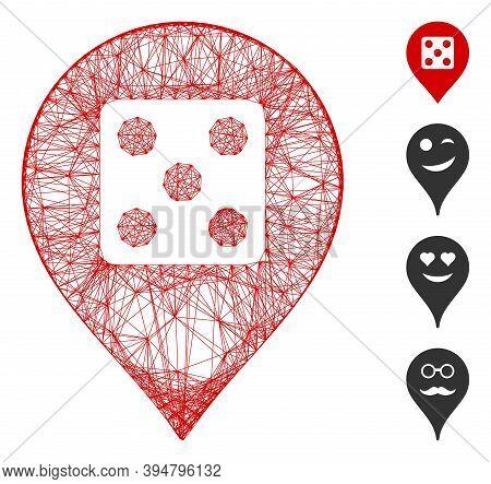 Vector Network Dice Casino Marker. Geometric Wire Frame 2d Network Made From Dice Casino Marker Icon