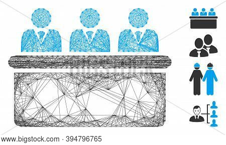 Vector Net Clerks Desk. Geometric Wire Frame Flat Net Generated With Clerks Desk Icon, Designed With