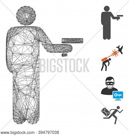 Vector Network Robber With Gun. Geometric Wire Carcass Flat Network Made From Robber With Gun Icon,