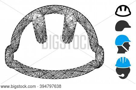 Vector Wire Frame Hardhat. Geometric Linear Frame 2d Network Made From Hardhat Icon, Designed From I